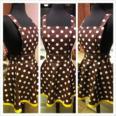 Lucy Apron brown polka dot with yellow trim  seth@houseofsandol.com $40  Copyright ©2011-14 HOUSE OF SANDOL