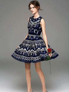 Sleeveless Embroidery Geometric Vintage Mini Dress - StyleWe.com