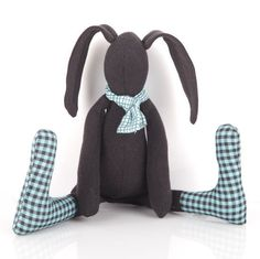 Timo-Handmade black fabric baby bunny rabbit soft toy in blue gingham #easter #eastergifts #eastergiftideas