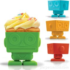 4 Robot Cupcake Molds - Green Blue Orange Red - Scifi cupcakes Funny cupcake supplies Silicone. $40.00, via Etsy.
