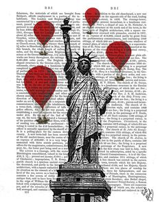 Statue of Liberty and Vintage Hot Air Balloons Art by FabFunky, $15.00