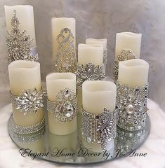 Conjunto de velas, flickering LED w Glamour Decor, Diy Candles, Pillar Candles, Candels, Battery Candles, Beeswax Candles, Scented Candles, Christmas Crafts, Christmas Decorations