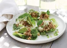 Spicy Mushroom Lettuce Cups with Cilantro Lime Creme