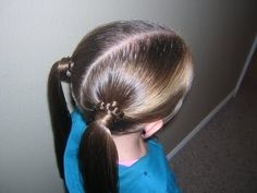 quick cute ponytails with a little weaving using a plastic needle