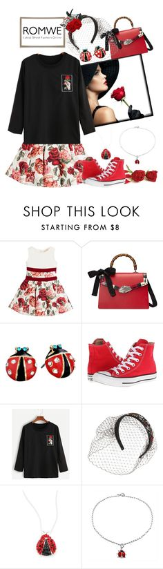 """Romwe Street Chique"" by rainheartcreations ❤ liked on Polyvore featuring Monnalisa Chic, Gucci, Betsey Johnson, Converse, RED Valentino, Lord & Taylor and Bling Jewelry"