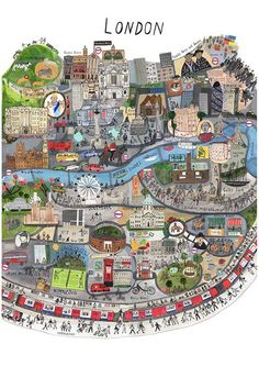 Map of London by Maisie Paradise Shearring. [London: an Illustrated View]. London Map, London Travel, London Food, Travel Maps, Travel Posters, Travel Europe, Italy Travel, Travel Illustration, Thinking Day