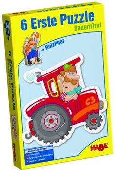 Haba Little Hand Puzzles: Farm (2,3,4 pc) by Haba. $14.24. 6 large piece puzzle for those beginning puzzlers with Little Hands! 6 colorful farm shapes with a colorful associated piece to match up and a farmer to help!Made in GermanyRecommended Ages: 2 years & up
