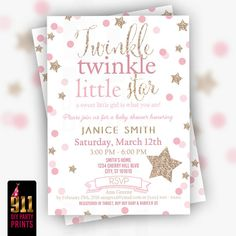 Baby Shower Invitaiton  Gold and Pink  by 911DIYPartyPrints