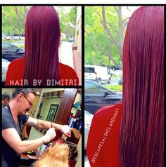 Vibrant deep red ruby violet. Done by Dimitri at Escape Salon Claremont.