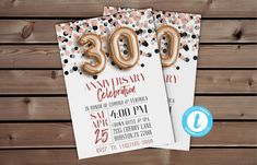 Rose Gold 30th Anniversary Invite | Confetti Invite Anniversary Invite, 30th Digital Invitation Template #Editable30th #ThirtiethInvitation #RoseGoldConfetti #ConfettiInvite #GoldFoilInvite #30thTemplate #30thAnniversary #ConfettiAnniversary #BalloonInvitation #30thInvitation