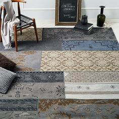 Cadiz Wool Rug - Platinum  (love the pattern, but the color is wrong and I'm trying to stay away from wool rugs and other specialty-clean-only rugs. SIGH)