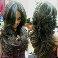 Long layered hair I wish my hair could look this thick healthy and wavy! great layers