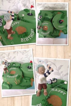 Large hand carved number 60 golf themed cake