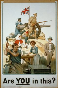 WA95 Vintage WW1 Hands Wanted National Service British War Poster Re-Print A4