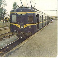 It's a harris train going towards Flinders Street via the City Loop, awaiting departure from Glen Waverley, in the South Australia, Western Australia, Historic Houses, Melbourne Victoria, Tasmania, Train Station, Public Transport, Brisbane, 1980s