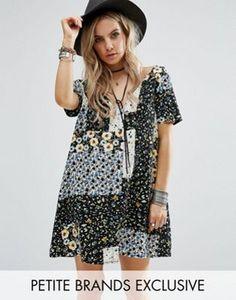 Glamorous Petite | Glamorous Petite Button Front Tea Dress In Patchwork Floral Print