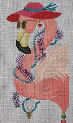 Stylin' Pink Flamingo w/ red hat Needlepoint Canvas