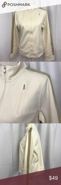 NWT Ralph Lauren Active szL zip up track jacket NWT Ralph Lauren Active szL zip up track jacket in cream w/tan stripes... Lauren Ralph Lauren Tops Sweatshirts & Hoodies