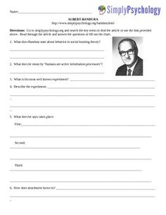 This is an assignment that has been created to go along with the www.simplypsychology.org website.  The assignments vary in length.  Assignments listed for $1.00 are typically one page.                                     $ 1.50 two pages                                     $ 2.00 three pagesSome assignments have graphs or charts to fill in.