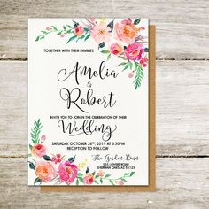 Printable Wedding Invitation Gentle romantic bloom watercolor Set/Suite Save the date RSVP Thank You Cards Printable digital files - Printable Wedding Invitations, Printable Cards, Bridal Shower Invitations, Invitation Cards, Diy Wedding, Wedding Gifts, Wedding Venues, Save Date, Floral Save The Dates