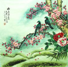 originale pittura cinese tradizionale artflower con due di art68