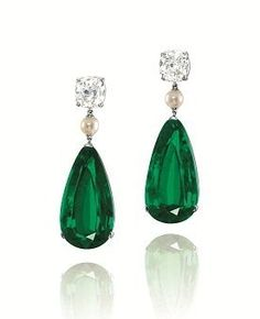 Emerald Earrings A pair of and Colombia no oil pear-shaped emerald, pearl and diamond earrings Pearl And Diamond Earrings, Emerald Earrings, Emerald Jewelry, Diamond Studs, Stud Earrings, Pearl Diamond, Emerald Diamond, Emerald Green, Ruby Necklace