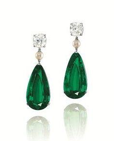 Colombian emerald, pearl & diamond drop earrings via Christies Hong Kong