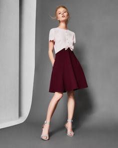 Scallop detail A-line dress - Maroon | Dresses | Ted Baker