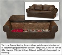Finding extra space -- modify couch for more storage. good idea for the sagging couch as well. need more dense or thicker cushions but great for extra pillows and blankets! Hidden Spaces, Hidden Rooms, Secret Storage, Hidden Storage, Survival Project, Survival Gear, Survival Prepping, Survival Skills, Survival Shelter