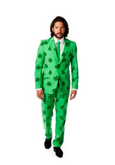 You'll be the lucky one on St. Patrick's Day and beyond when you wear this men's suit and tie set from OppoSuits. Brown Suits For Men, St Patrick's Day Costumes, Halloween Costumes, Costume Ideas, Leprechaun Costume, Green Suit, Green Blazer, Tall Pants, Slim Fit Suits