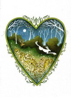 Heart art print. 'Searching'  By Amanda Clark. door earthangelsarts, £15.00