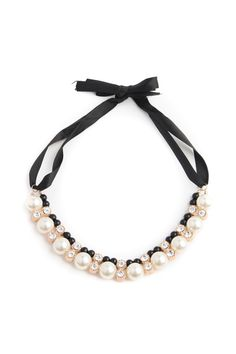 Beaded Necklace with Ribbon Tie.