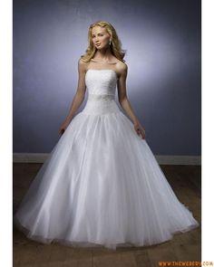 stile senza spalline organza bianca a buon mercato abito da ...