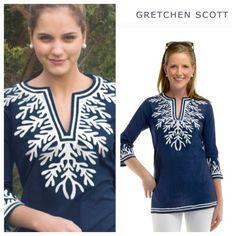 Gretchen Scott navy reef tunic New without a tag Gretchan Scott Tops Tunics