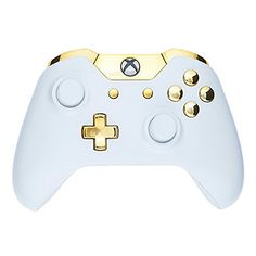 Mod Freakz Xbox One Controller Shell/Buttons Kit (Piano White with Polished Gold Buttons)  http://gamegearbuzz.com/mod-freakz-xbox-one-controller-shellbuttons-kit-piano-white-with-polished-gold-buttons/