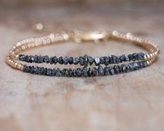 Rough diamond bracelet in sterling, rose gold or gold filled, April birthday gift for woman - Diamond bracelet bracelet black rough diamond delicate by AbizaJewelry - Black Diamond Bracelet, Ruby Bracelet, Gemstone Bracelets, Sterling Silver Bracelets, Gemstone Jewelry, Diamond Jewelry, Beaded Jewelry, Jewelry Bracelets, Ruby Gemstone