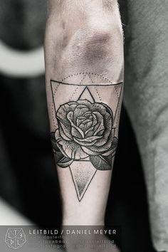 geometric rose tattoo - Google Search