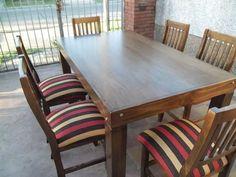 mesa asia de 1,60x80 con 6 sillas tapizadas en chenille