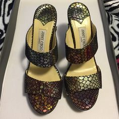 Multicolor Snakeskin Print Jimmy Choos adorable shoes, only worn a couple of times. 5 inch heel, 1 inch platform Jimmy Choo Shoes Heels