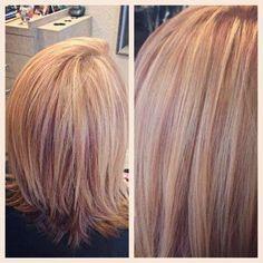 Strawberry blonde/rose gold highlights. | Yelp