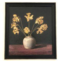 Australian female artist, Nellie Govett (Helena Nellie Govett) was born in Melbourne Victoria. She was the mother to renouned Australian artist James William Govett Nellie studied under the. Melbourne Victoria, Australian Artists, Pottery Vase, Daffodils, Vintage Art, Still Life, Floral Paintings, Daffodil, Ceramic Vase