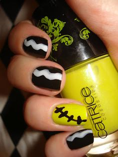 Bride of Frankenstein hairdo design - black / yellow / white HALLOWEEN NAILS - holidays - Catrice nail polish (color Innocent Toxin)