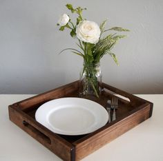 Rustic Wooden Serving Tray by HoneysuckleAndPine on Etsy