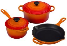 Le Creuset Signature 5Piece Cast Iron Cookware Set Flame * Check this awesome product by going to the link at the image.