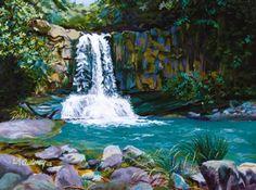 Imfpa A Waterfall Painting Contemporary Wall Art