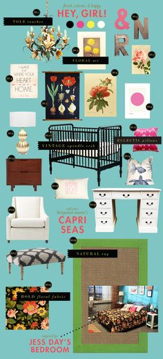 BHG Style Spotter Joni Lay created this nursery style board based on one of her favorite shows, The New Girl! Read more posts here: http://www.bhg.com/blogs/better-homes-and-gardens-style-blog/?socsrc=bhgpin060512