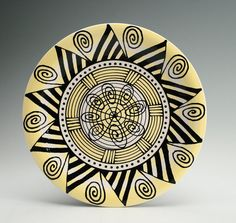 Yellow Black White Mandala Art Plate / Platter by owlcreekceramics, $30.00