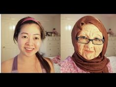 Old Lady Makeup Transformation with Foam Latex