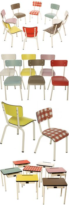 """Vintage style chairs by """"les gambettes"""" http://www.lesgambettes.fr/accueil/"""