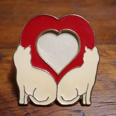 Vintage 80s Enamel Two Cats Kittens Red Heart Shaped Small Metal Picture Frame
